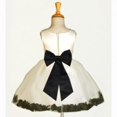 Ivory/Black Rose Petals Tulle Flower Girl Dress Pageant 305T