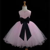 Pink/Black Tulle Rattail Edge Flower Girl Dress Fairy Princess 829T