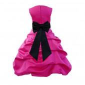 Fuchsia/black Satin Pick-Up Bubble Flower Girl Dress Christmas Easter 808T