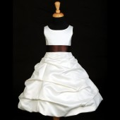 Ivory/Brown Satin Pick-Up Bubble Flower Girl Dress V2 806S