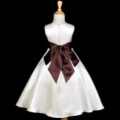 Ivory/Brown A-Line Satin Flower Girl Dress Pageant Reception 821S