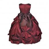 Burgundy/Brown Satin Taffeta Pick-Up Bubble Flower Girl Dress 301S