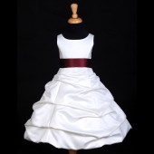Ivory/Burgundy Satin Pick-Up Bubble Flower Girl Dress V2 806S