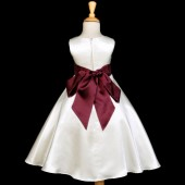 Ivory/Burgundy A-Line Satin Flower Girl Dress Pageant Reception 821S