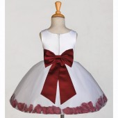 White/Burgundy Rose Petals Tulle Flower Girl Dress Wedding 305T
