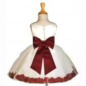 Ivory/Burgundy Rose Petals Tulle Flower Girl Dress Pageant 305T