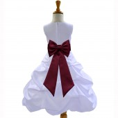 White/Burgundy Satin Pick-Up Bubble Flower Girl Dress Wedding 808T