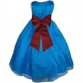 Royal Blue/Burgundy Satin Bodice Organza Skirt Flower Girl Dress 841T