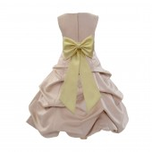 Champagne/Canary Satin Pick-Up Bubble Flower Girl Dress Special Occasion 808T