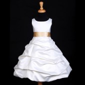 Ivory/Champagne Satin Pick-Up Bubble Flower Girl Dress V2 806S