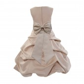 Champagne/Champagne Satin Pick-Up Bubble Flower Girl Dress Special Occasion 808T
