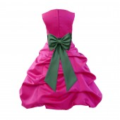Fuchsia/Clover Green Satin Pick-Up Bubble Flower Girl Dress Christmas Easter 808T