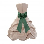 Champagne/Clover Green Satin Pick-Up Bubble Flower Girl Dress Special Occasion 808T