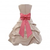 Champagne/Coral Satin Pick-Up Bubble Flower Girl Dress Special Occasion 808T