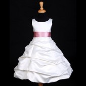 Ivory/Dusty Rose Satin Pick-Up Bubble Flower Girl Dress V2 806S