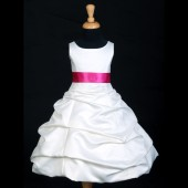 Ivory/Fuchsia Satin Pick-Up Bubble Flower Girl Dress V2 806S