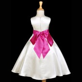 Ivory/Fuchsia A-Line Satin Flower Girl Dress Pageant Reception 821S