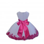White/Fuchsia Tulle Rose Petals Knee Length Flower Girl Dress 306S