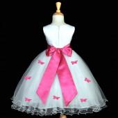 Fuchsia Butterflies Tulle Flower Girl Dress Elegant Pageant 509S