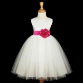 White/Fuchsia Satin Tulle Flower Girl Dress Wedding Pageant 831S