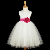 Ivory/Fuchsia Satin Tulle Flower Girl Dress Wedding Pageant 831S