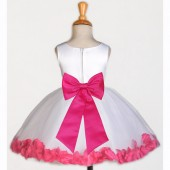 White/Fuchsia Rose Petals Tulle Flower Girl Dress Wedding 305T