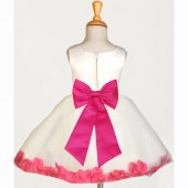 Ivory/Fuchsia Rose Petals Tulle Flower Girl Dress Pageant 305T