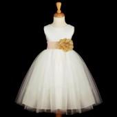 White/Gold Satin Tulle Flower Girl Dress Wedding Pageant 831S