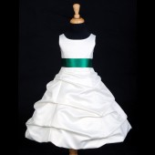 Ivory/Green Satin Pick-Up Bubble Flower Girl Dress V2 806S