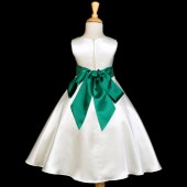 Ivory/Green A-Line Satin Flower Girl Dress Pageant Reception 821S