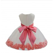 Ivory/Guava Tulle Rose Petals Knee Length Flower Girl Dress 306S