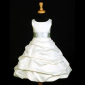 Ivory/Ivory Satin Pick-Up Bubble Flower Girl Dress V2 806S