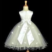 Ivory Butterflies Tulle Flower Girl Dress Elegant Pageant 509S