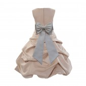 Champagne/Ivory Satin Pick-Up Bubble Flower Girl Dress Special Occasion 808T