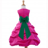 Fuchsia/Jade Satin Pick-Up Bubble Flower Girl Dress Elegant 808T