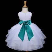 White/Oasis Satin Shimmering Organza Flower Girl Dress Wedding 4613S