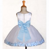 White/Sky Rose Petals Tulle Flower Girl Dress Wedding 305T