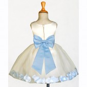 Ivory/Sky Rose Petals Tulle Flower Girl Dress Pageant 305T