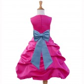 Fuchsia/Sky Satin Pick-Up Bubble Flower Girl Dress Elegant 808T