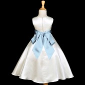 Ivory/Sky A-Line Satin Flower Girl Dress Pageant Reception 821S