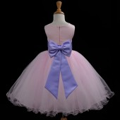 Pink/Lilac Tulle Rattail Edge Flower Girl Dress Fairy Princess 829T