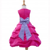 Fuchsia/Lilac Satin Pick-Up Bubble Flower Girl Dress Elegant 808T