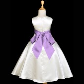 Ivory/Lilac A-Line Satin Flower Girl Dress Pageant Reception 821S