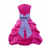 Fuchsia/Lilac Satin Pick-Up Bubble Flower Girl Dress Christmas Easter 808T