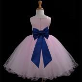 Pink/Navy Tulle Rattail Edge Flower Girl Dress Fairy Princess 829T
