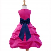 Fuchsia/Navy Satin Pick-Up Bubble Flower Girl Dress Elegant 808T