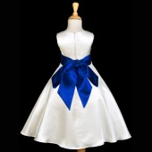 Ivory/Navy A-Line Satin Flower Girl Dress Pageant Reception 821S