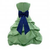 Clover/Navy blue Satin Pick-Up Bubble Flower Girl Dress Christmas Easter 808T