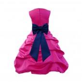 Fuchsia/Navy Blue Satin Pick-Up Bubble Flower Girl Dress Christmas Easter 808T