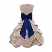 Champagne/Navy blue Satin Pick-Up Bubble Flower Girl Dress Special Occasion 808T